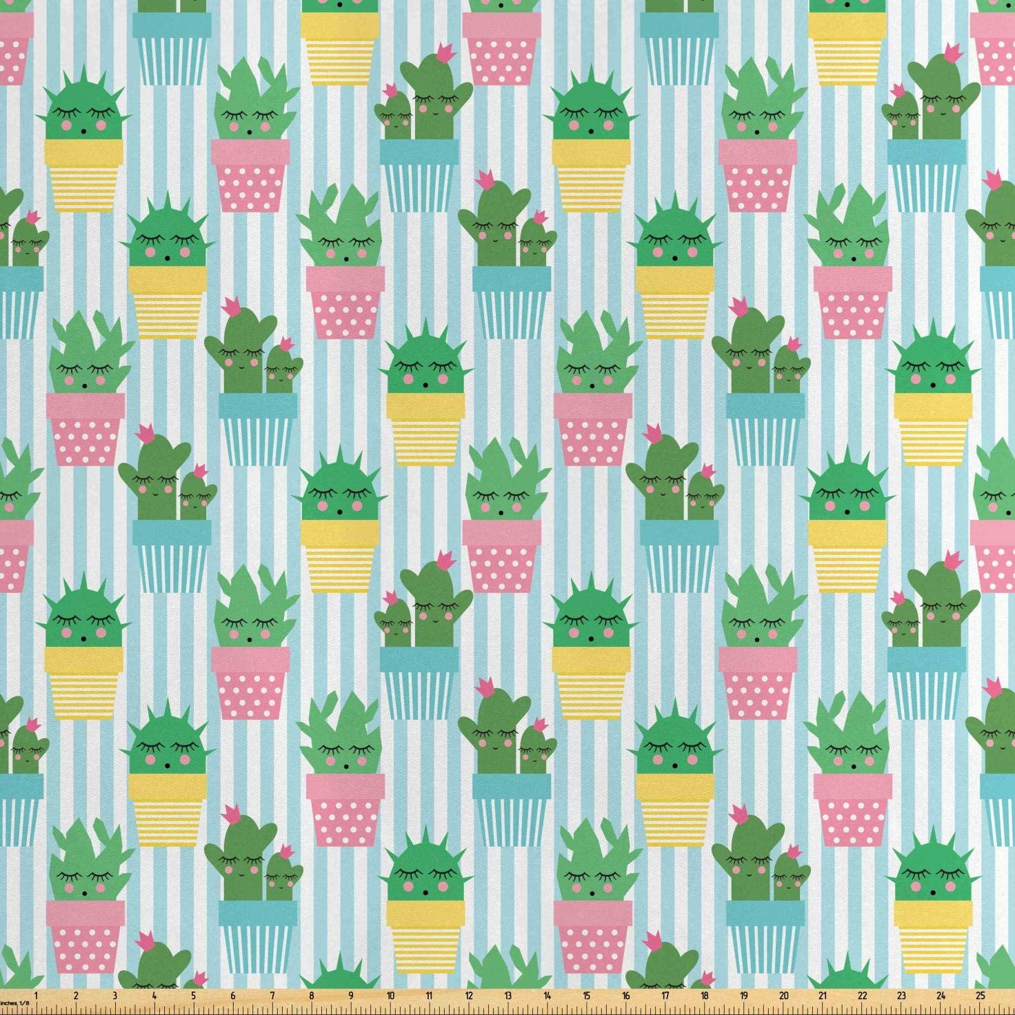 Lunarable Cactus Fabric by The Yard, Tropical Baby Plants with Faces in Striped and Polka Dots Pots Gardening Theme, Decorative Satin Fabric for Home Textiles and Crafts, 10 Yards, Teal Green
