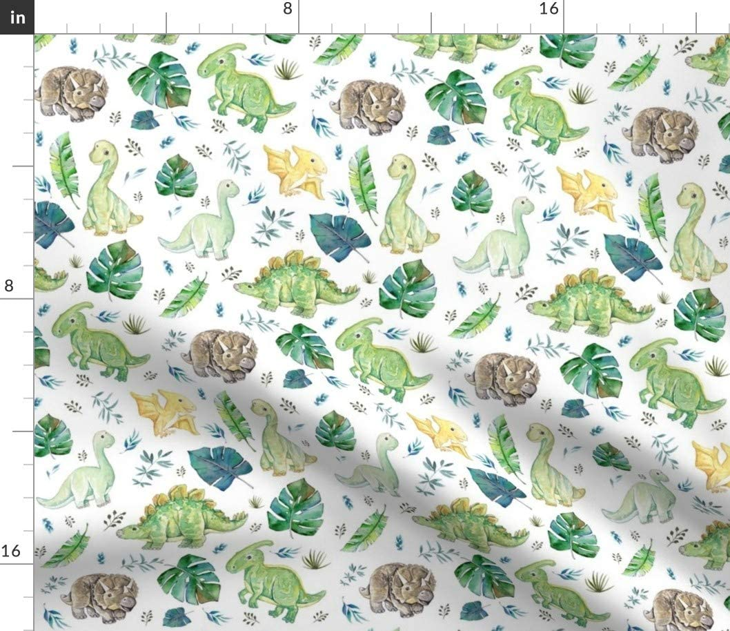 Spoonflower Fabric - Green Blue Baby Dinosaurs Boy Printed on Cotton Spandex Jersey Fabric by The Yard -