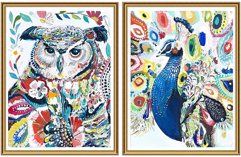 Yomiie 5D Diamond Painting Colorful Owl & Peacock Full Drill by Number Kits, Oil aBirdofMinerva & BirdofJuno Paint with Diamond Art DIY Rhinestone Embroidery Craft (12x16inch, 2Pack) a116