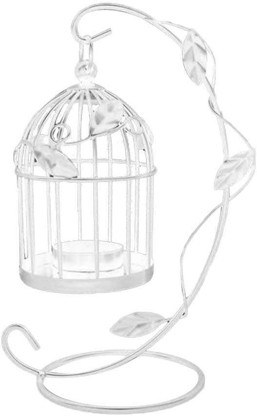 Mobestech Metal Candle Holder Hollow Out Bird Cage Vintage Hanging Candlestick Lantern for Home Wedding Centerpiece Decoration (White)