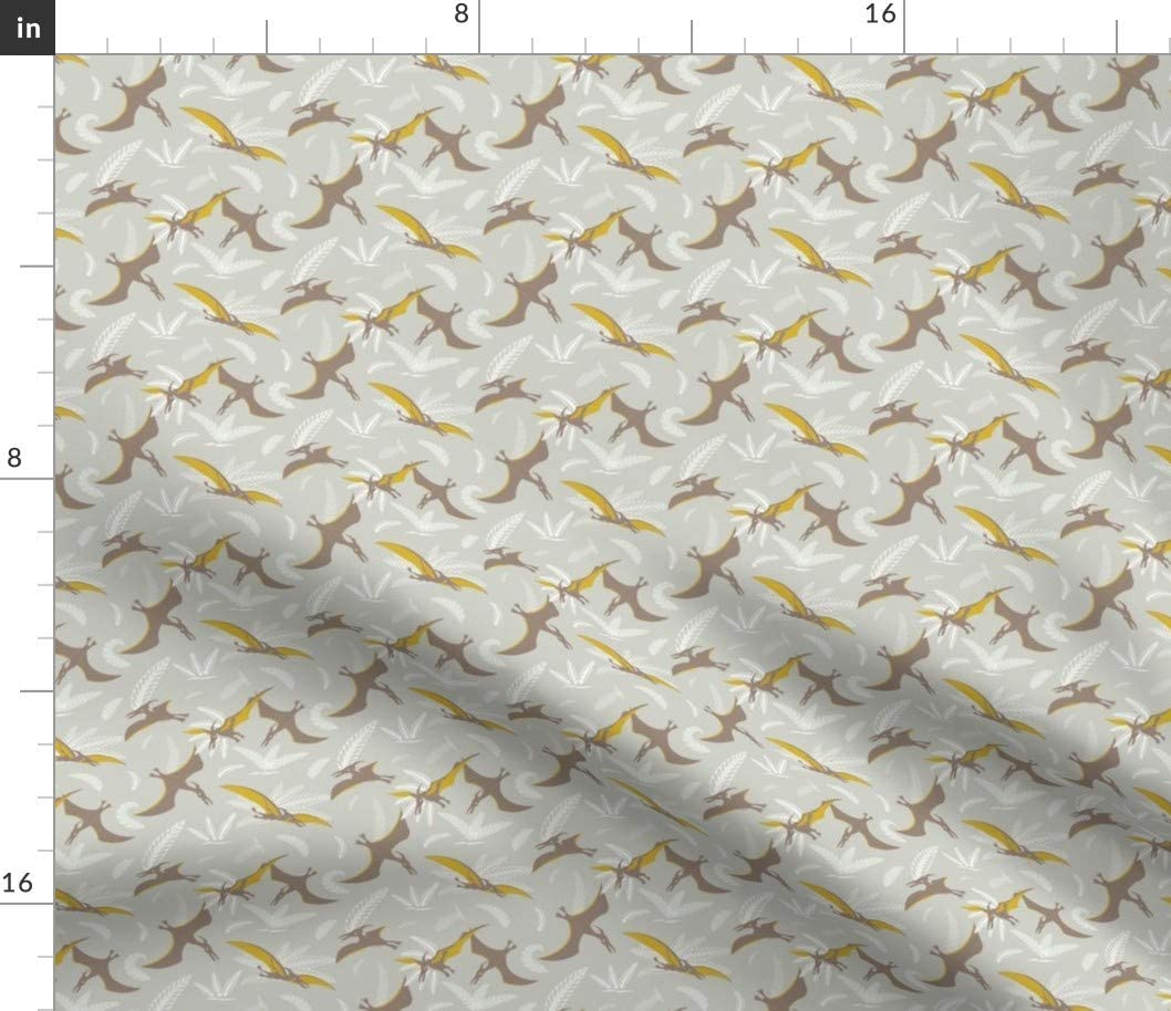 Spoonflower Fabric - Dinosaurs Prehistoric Animals Extinct Printed on Cotton Spandex Jersey Fabric by The Yard -