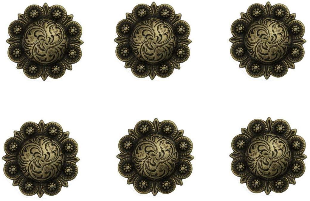 Conchos for Belt - Leather Fastener - Set of 6 Western Saddle Horse TACK 1-1/2 Antique Brass Engraved Berry Conchos