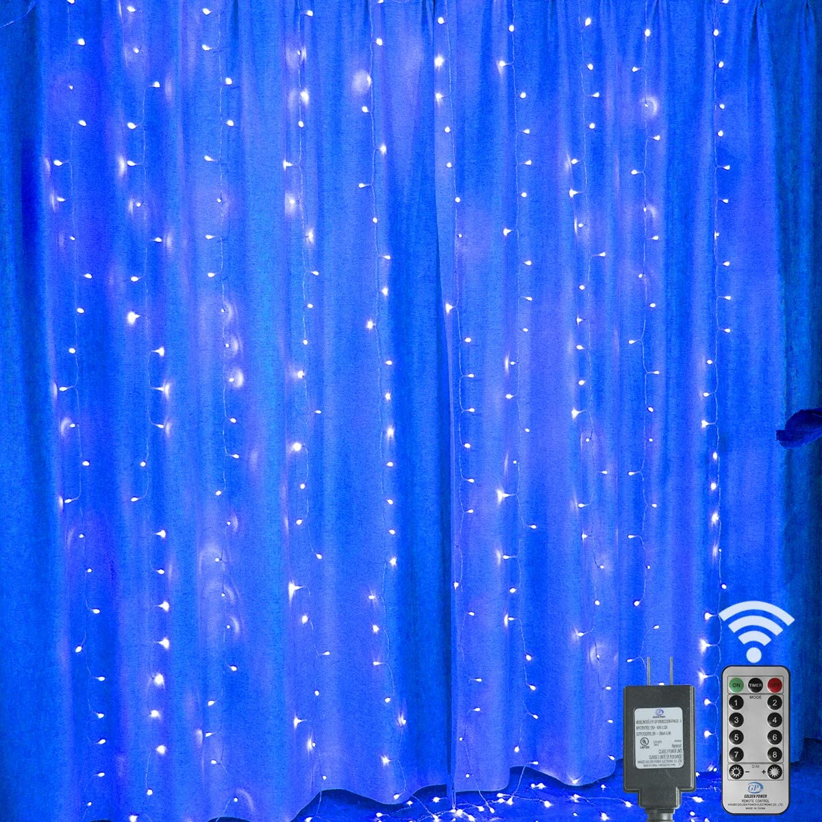 300Leds Window Curtain Lights Plug in,9.8x9.8ft Indoor Backdrop Window lights Connectable Twinkle Lights With Remote Waterfall Hanging Lights Wall Decor for Bedroom,Christmas,Party,Wedding-Blue