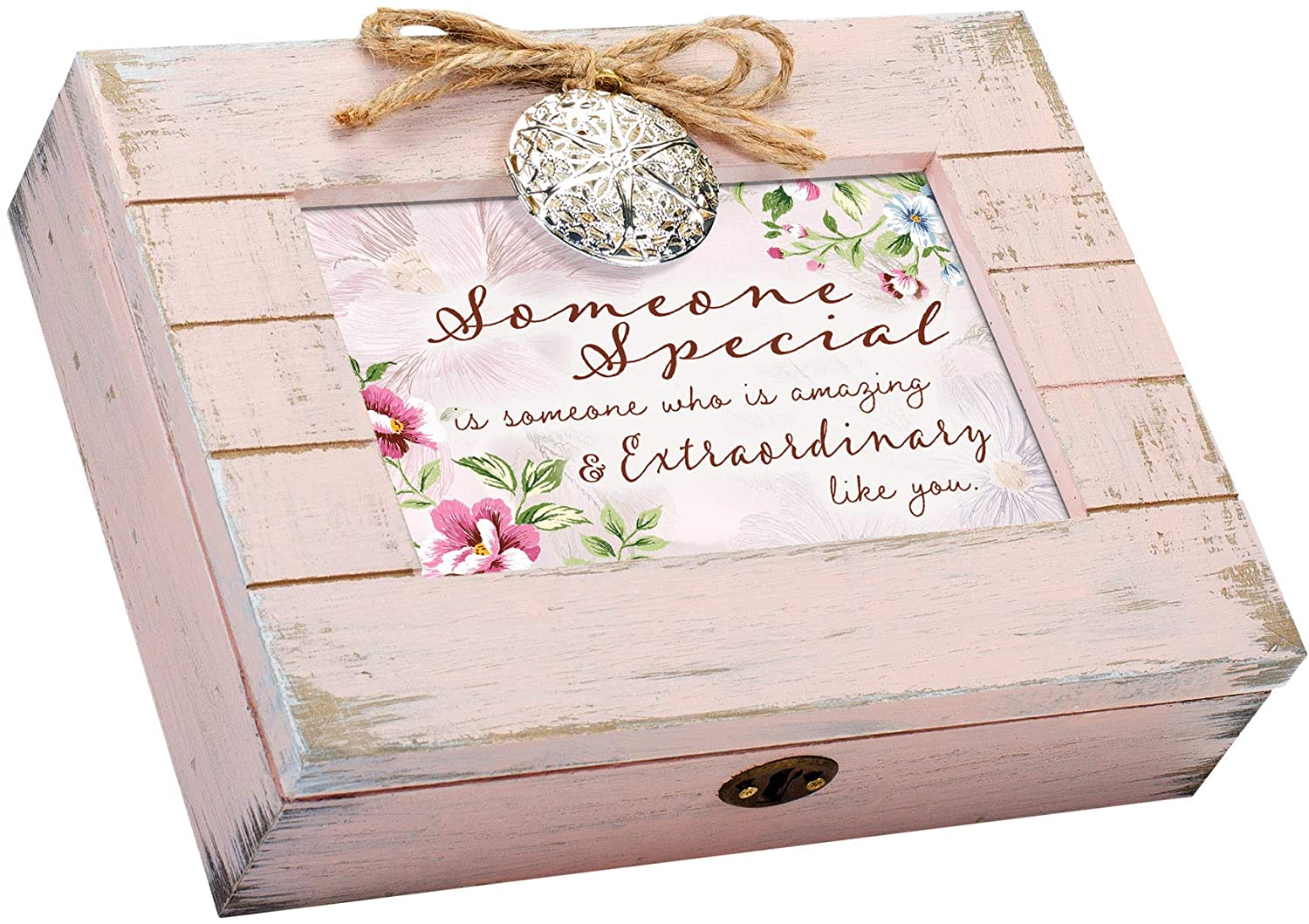 Cottage Garden Someone Special Like You Blush Pink Wood Locket Music Box Plays Wonderful World