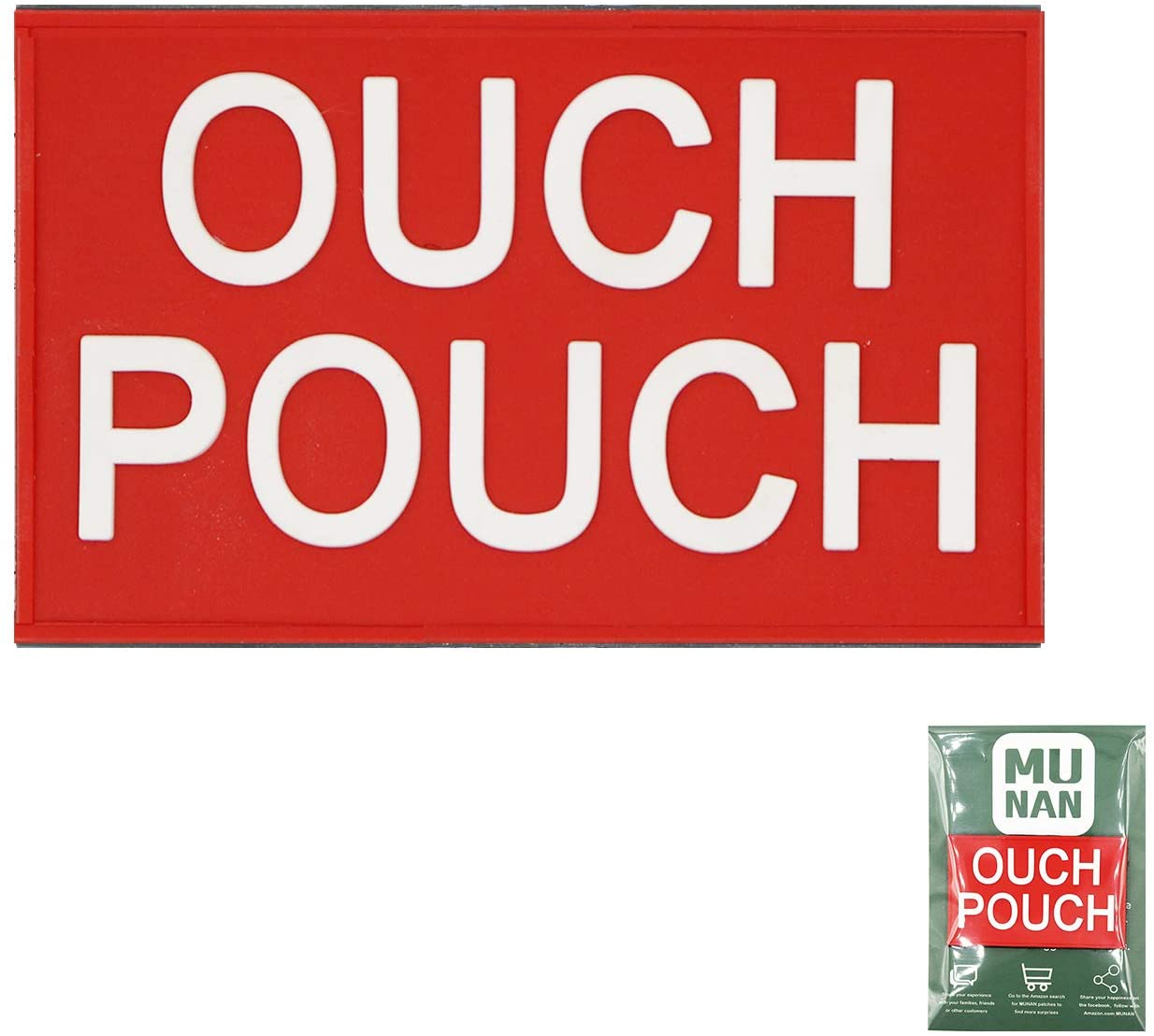 Ouch Pouch Tactical PVC Patch Ouch Pouch Badge Sew On Patches Hook-Back Adhesion(Red)