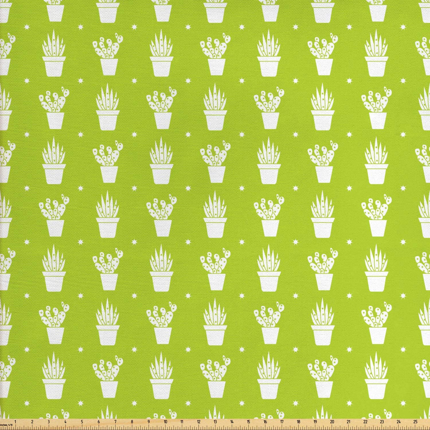 Ambesonne Cactus Print Fabric by The Yard, Repetitive Plants in Pots Different Shapes of Exotic Items Stars, Decorative Fabric for Upholstery and Home Accents, 1 Yard, Yellow Green and White