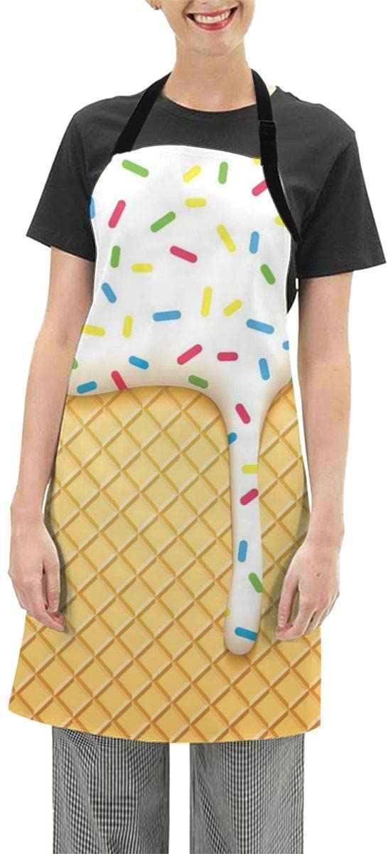 MSGUIDE Waterproof Apron Bulk Ice Cream Bib with Adjustable Neck Strap for Kitchen Baking Gardening Cooking 25.6x28.3 in