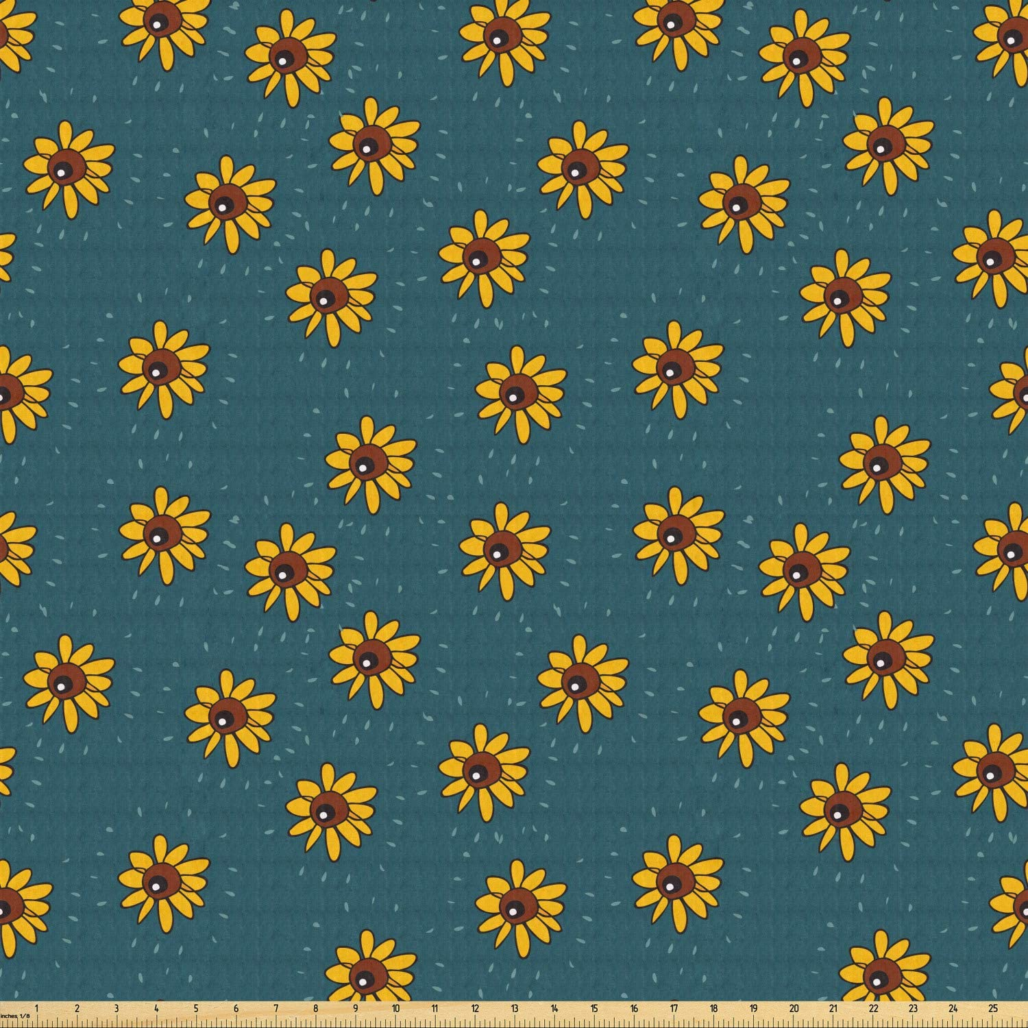 Ambesonne Sunflower Fabric by The Yard, Graphic Flower Kids Nursery Style Meadow Nature Pattern, Stretch Knit Fabric for Clothing Sewing and Arts Crafts, 1 Yard, Teal Yellow