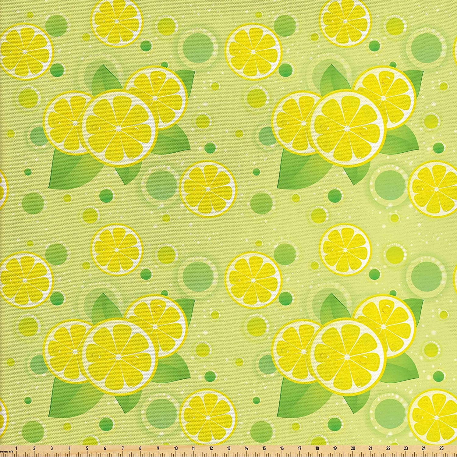 Lunarable Vintage Fabric by The Yard, Lemon Lime Pattern in Retro Vintage Style Citrus Fruit Circles Natural Image, Decorative Fabric for Upholstery and Home Accents, 10 Yards, Yellow Green
