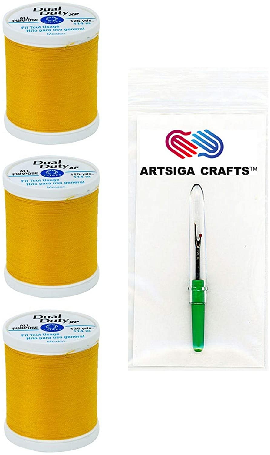 Coats & Clark Sewing Thread Dual Duty XP General Purpose Poly Thread 125 Yards (3-Pack) Bright Gold Bundle with 1 Artsiga Crafts Seam Ripper S900-9274-3P