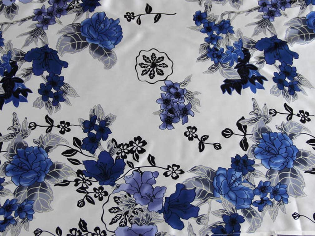 Maxfeel 100% Pure Mulberry Silk Charmuse Floral Fabric 45 Wide for Bedding Dress by The Yard or by Half Yard (Sold by The Yard, 16)