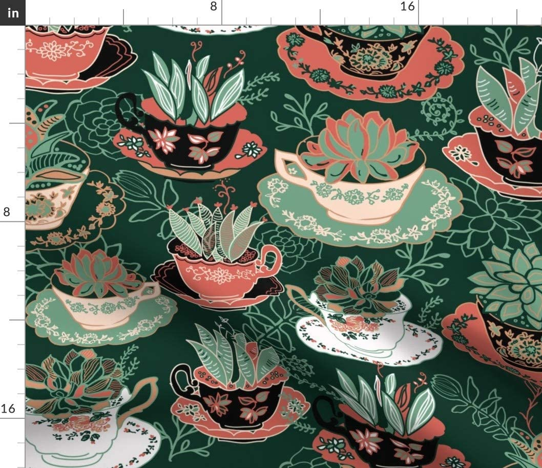 Spoonflower Fabric - Tea Succulents Cactus Flowers Succulent Botanical Boho Southwestern Printed on Cotton Poplin Fabric by The Yard - Sewing Shirting Quilting Dresses Apparel Crafts