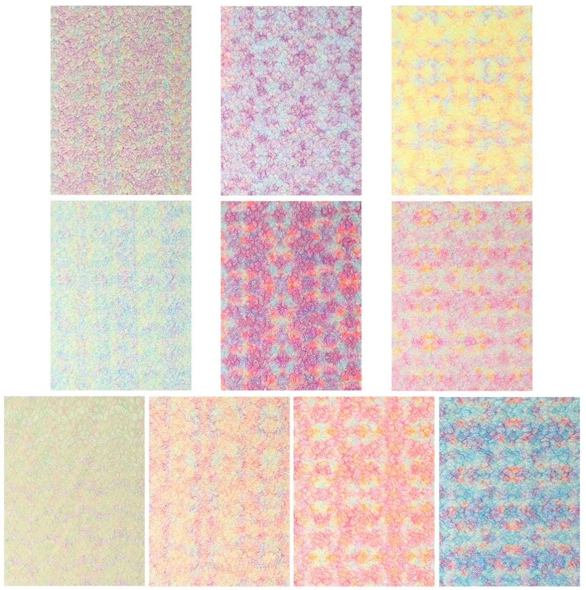 EXCEART 10pcs Rainbow Glitter Sequins Faux Leather Sheets Christmas Themed Printed Synthetic Leather Sheet for Earrings Hair Bows and Craft Making