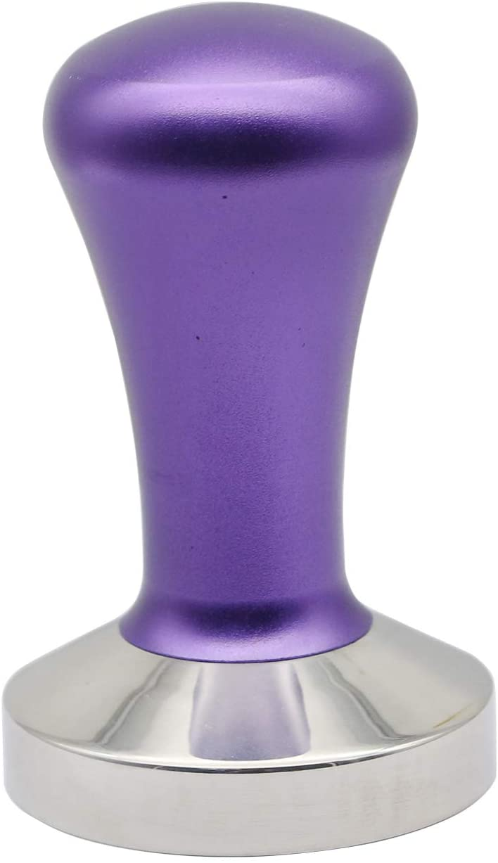 58MM Tamper, Coffee Tamper, Tamper for Espresso,Professional Barista Espresso Tamper Machine Accessory with 100% Flat Stainless Steel Coffee Tool For Family Office Cafe Restaurant (Purple)