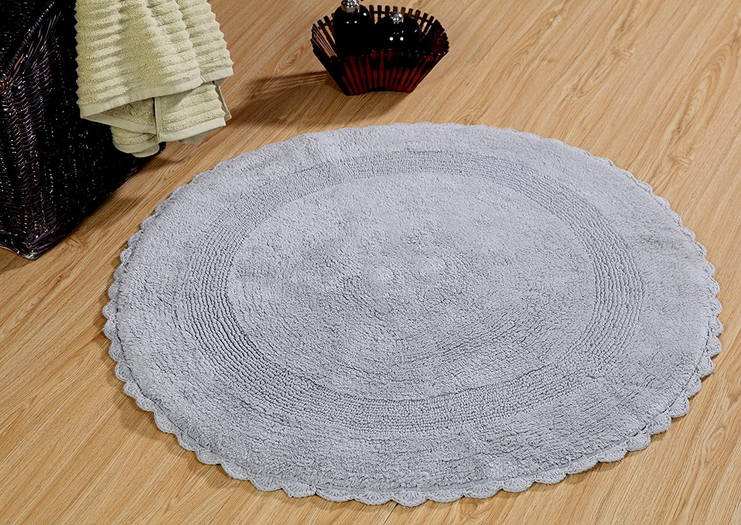 Saffron Fabs Bath Rug Cotton 36 In Round, Reversible-Different Pattern On Both Sides, Silver Gray, Hand Knitted Crochet Lace Border, Machine Washable