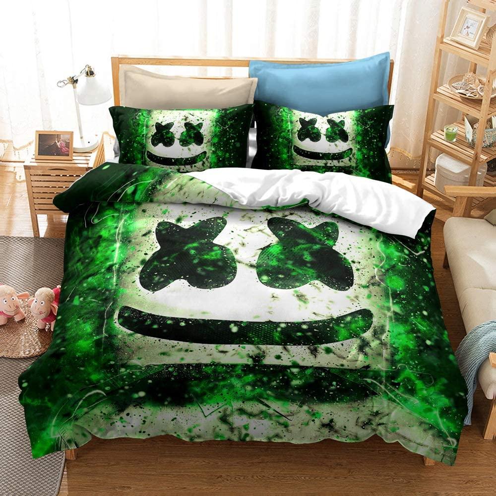 SOEWBBER DJ Marchmello Bedding Set King Size 3D Printed Cartoon Marchmello Helmet Smile Parttern Green Galaxy Duvet Cover for Kids Teens Bed Set, 1 Duvet Cover + 2 Pillowcases