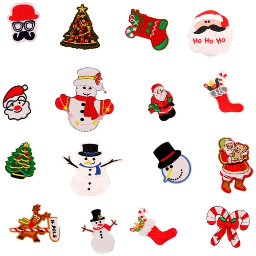 HEALLILY 16pcs Christmas Embroidered Patches Xmas Iron On Sew On Appliques Snowman Santa Claus Deer Xmas Tree Sock Patches for Jeans Jackets Bag