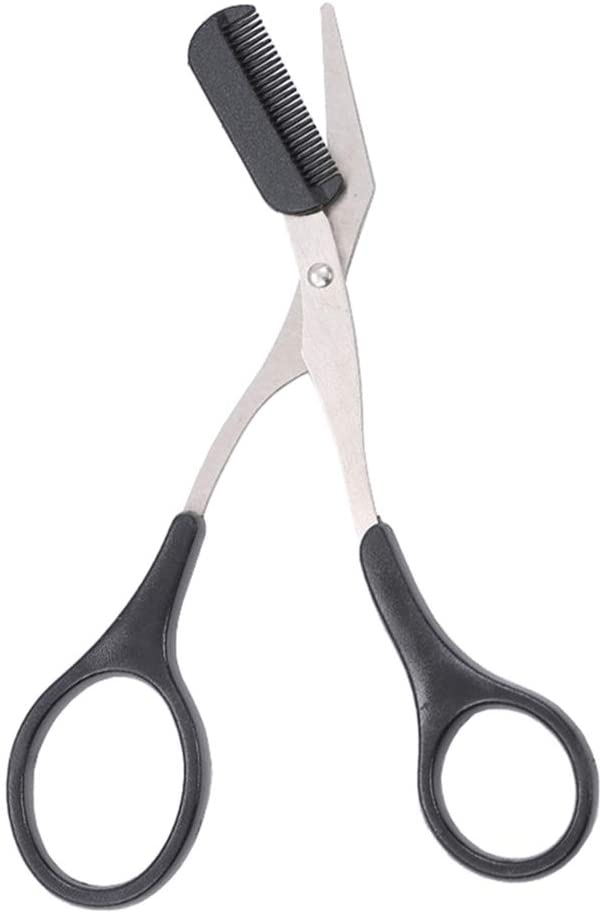 1 PCS Professional Precision Eyebrow Trimmer Men Eyebrow Shear Scissors With Comb and Non Slip Finger Grips Eyelash Hair Scissors Cutter Remover Tool Eyebrow Grooming Tool