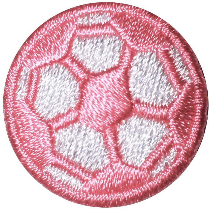 Soccer Ball Iron on Patch Pink/White 10-Pack