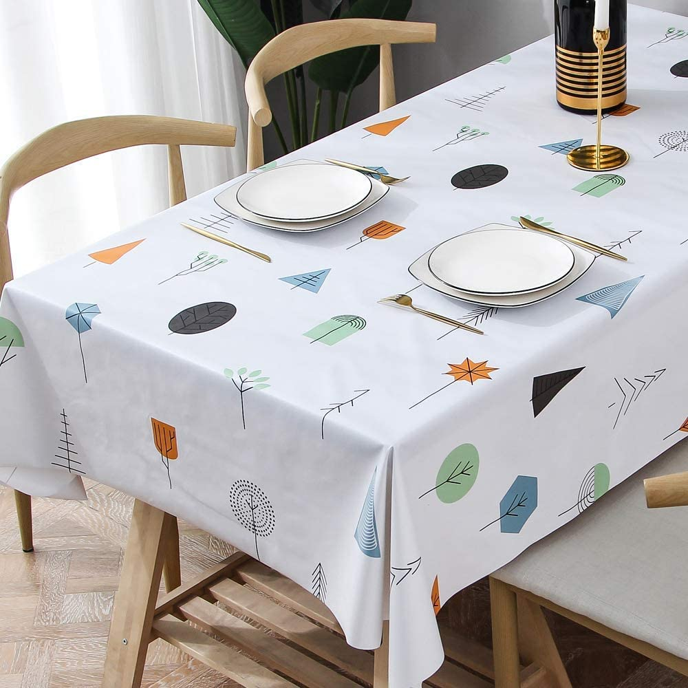 TruDelve Heavy Duty Vinyl Table Cloth for Kitchen Dining Table Wipeable PVC Tablecloth for Rectangle Table (54