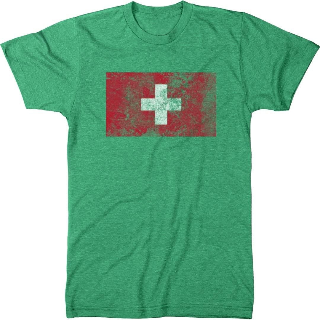 Trunk Candy Distressed Switzerland Flag Men's Modern Fit T-Shirt
