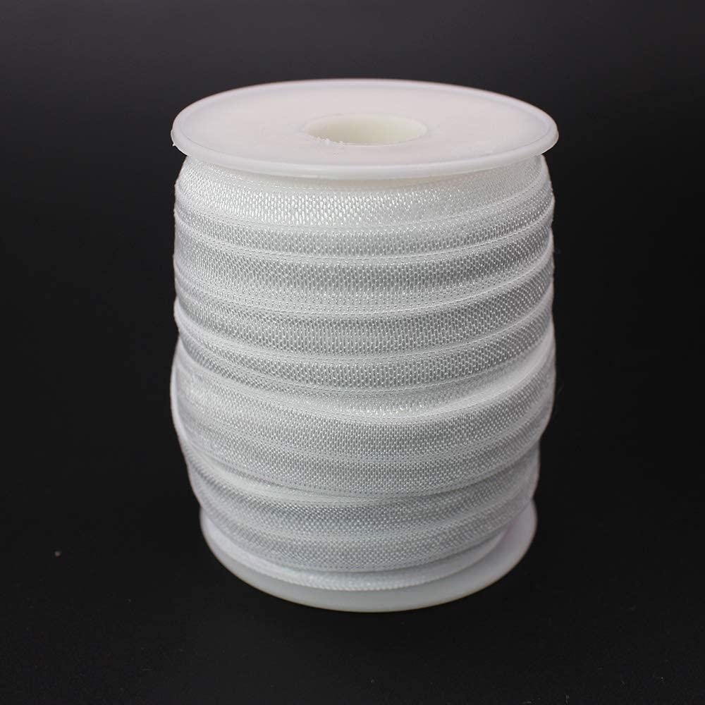 PAMIR TONG 50 Yards 3/8 1.0CM White FOE Elastic Headband Baby Hairbow Soft Foldover Cord (White)