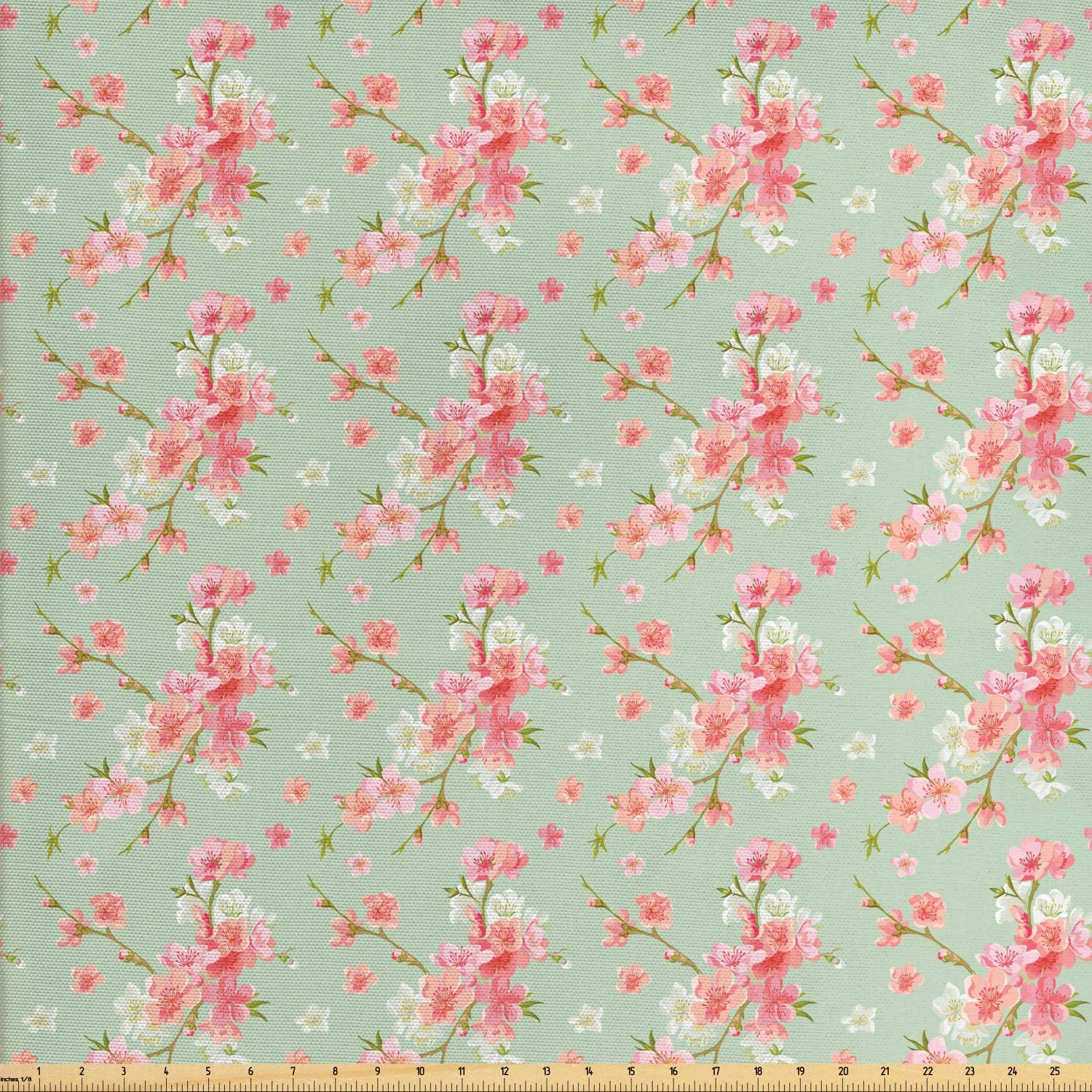 Ambesonne Shabby Flora Fabric by The Yard, Retro Spring Blossom Flowers with French Garden Florets Garland Artisan Image, Decorative Fabric for Upholstery and Home Accents, 3 Yards, Mint Pink