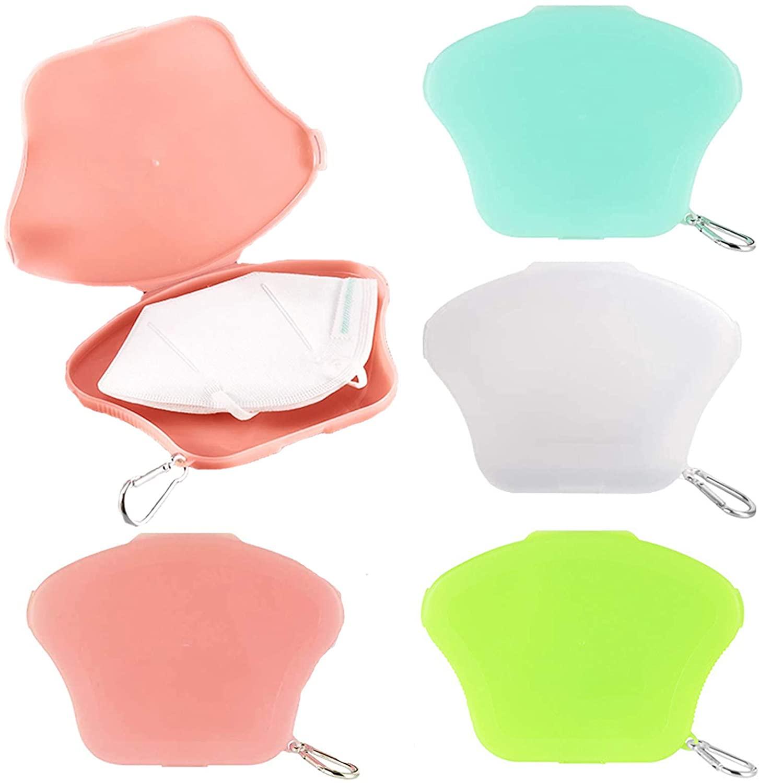 Kalolary 4 PCS Portable Face Mask Storage Case, Plastic Face Mask Holder Organizer with Lid, Reusable Face Cover Storage Box for Face Mask Pollution Prevention (Orange-Pink, Blue, Green, Transparent)