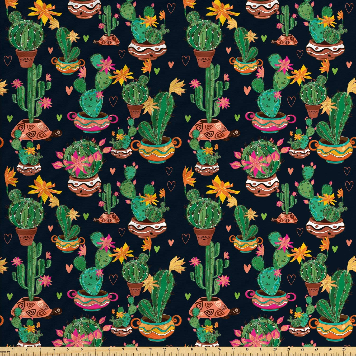 Ambesonne Cactus Print Fabric by The Yard, Colorful Layout of Different Shapes of Cacti with Flowers, Decorative Fabric for Upholstery and Home Accents, 1 Yard, Charcoal Grey