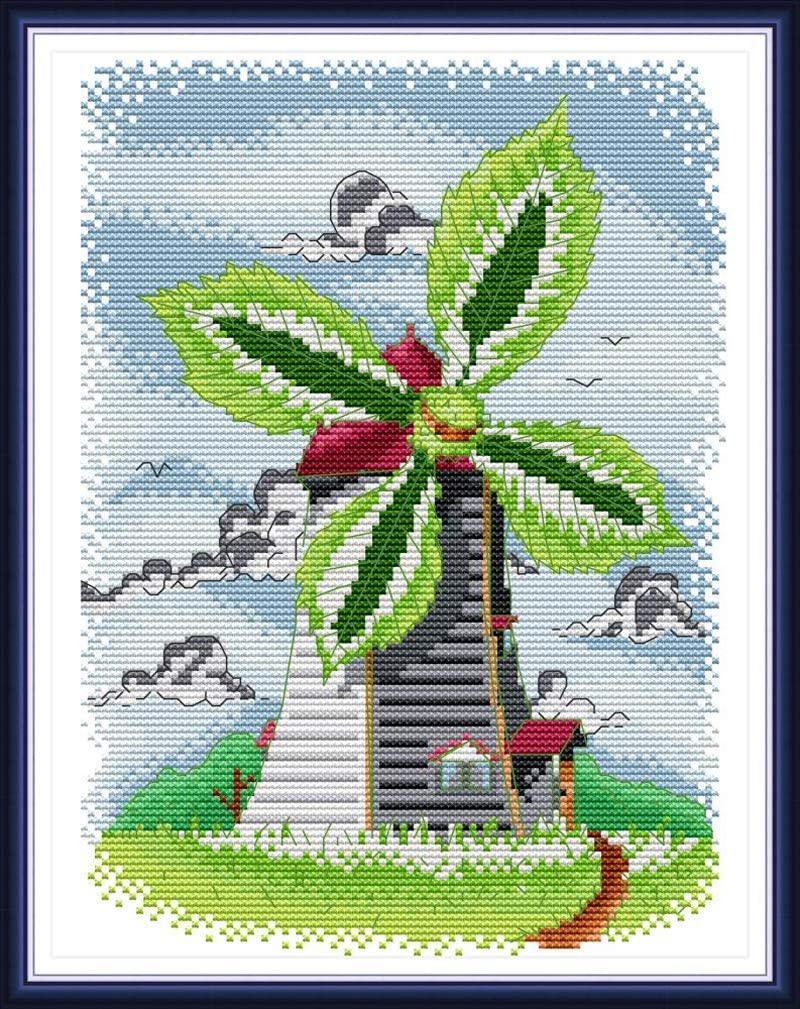 Stamped Cross Stitch Kits Needlepoint Starter Kit Preprinted Embroidery for Adult Beginners and Kids, Great for Home Decor and Gifting, 11CT 12.6''×15.4'' - Windmill of Summer