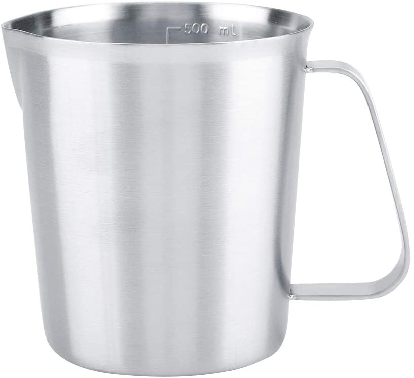 SOONHUA Stainless Steel Milk Frothing Pitcher, Espresso Coffee Cup Mug Cappuccino Pitcher Pouring Jugwith Measurement, 16.9 Ounce