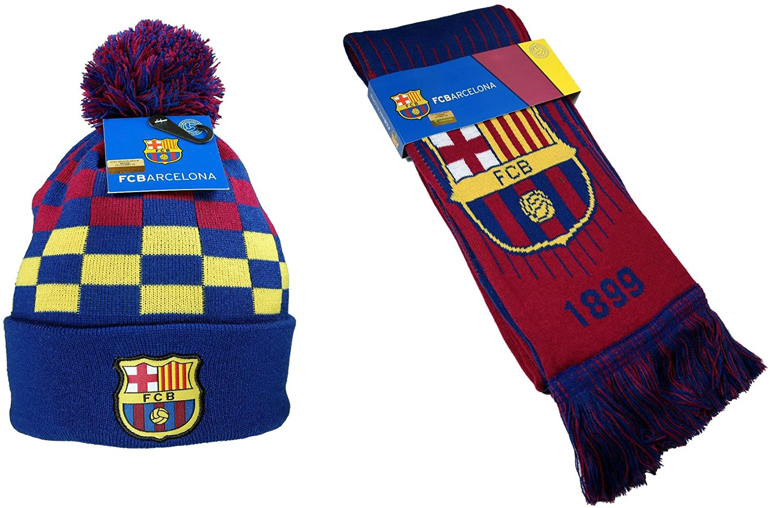 FC Barcelona Authentic Official Licensed Soccer Beanie & Scarf Combo
