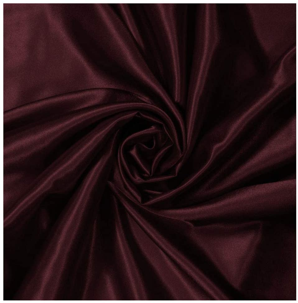 "mds Pack of 20 Yard Charmeuse Bridal Solid Satin Fabric for Wedding Dress Fashion Crafts Costumes Decorations Silky Satin 44""- Burgundy"