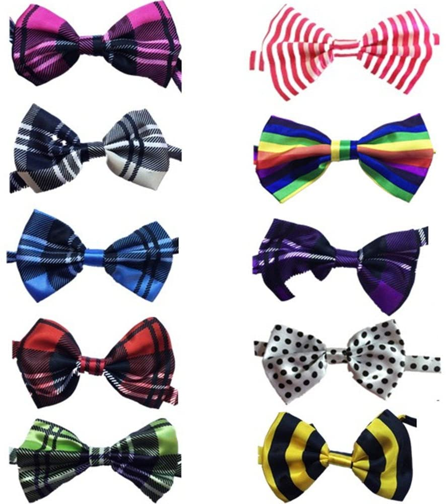 Lebbeen 10pcs/Pack,Pet Dog Bow Tie Collar,Adjustable Pet Cat Dog Bow Ties Bowties,Grooming Accessories