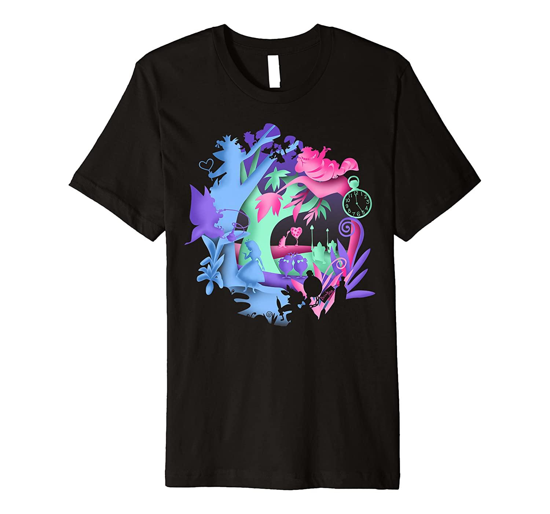 Disney Alice In Wonderland Neon Forest Silhouette Premium T-Shirt