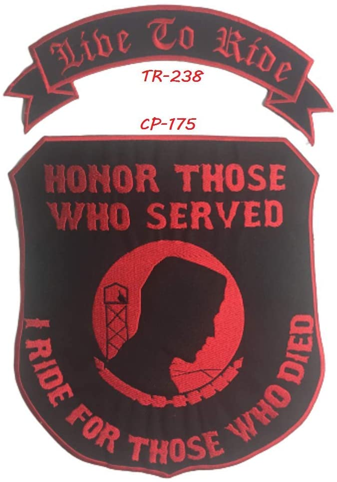 Pow Mia I Ride for Those who Died, Live to Ride Red on Black Iron on/SWE on Patch 2pc Set for Bickers Jacket CGI