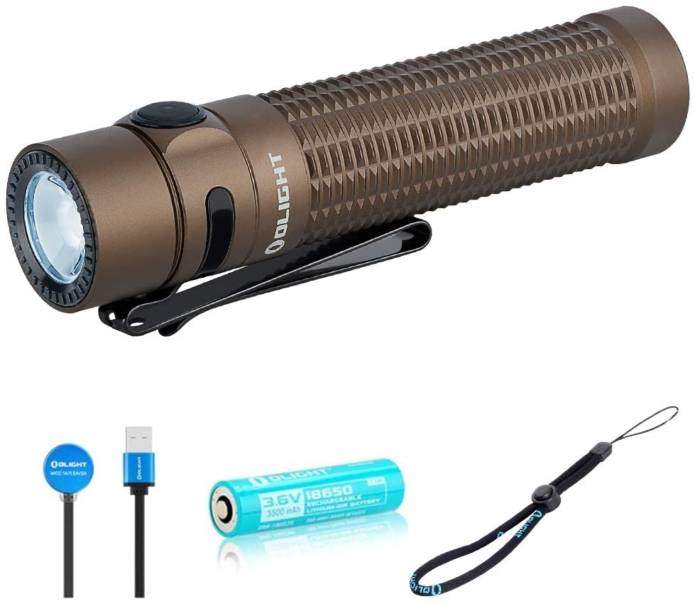 OLIGHT Warrior Mini Tactical Rechargeable Flashlight, Max 1500 Lumens 190m Throw Powerful Dual Switch LED Torch with 3500mAh 18650 Battery for Household Search, Outdoors Hunting, Rescue