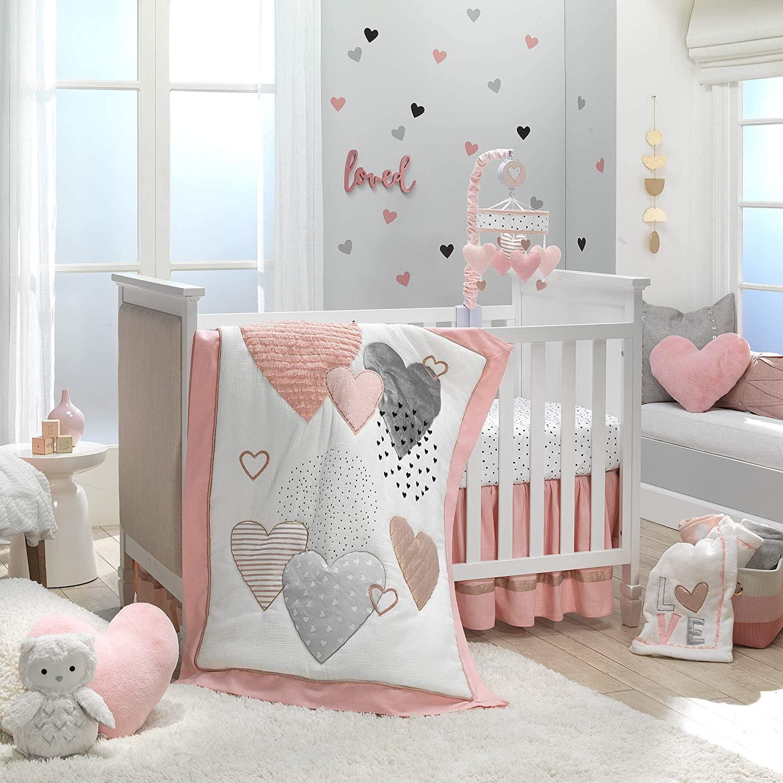 Lambs & Ivy Signature Heart to Heart 4-Piece Crib Bedding Set - Pink, Gray
