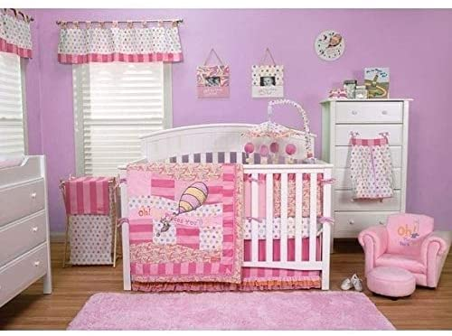Oh The Places You'll Go! Pink 3 Piece Crib Bedding Set Novelty Girls Licensed Characters Cotton