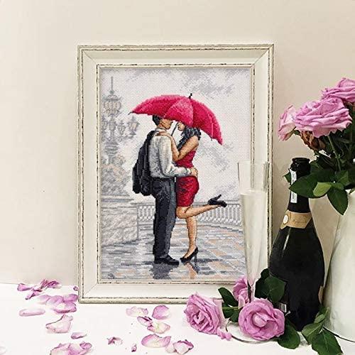 Kiss in The Rain 110x164 Stitch, 20x29 cm Cotton Small Counted Cross Stitch Kit