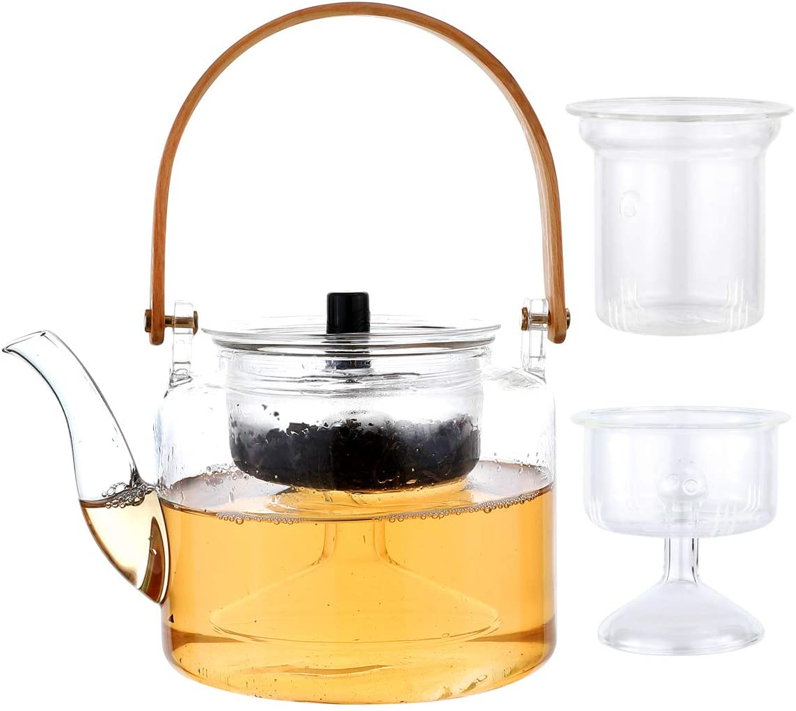 Glass TeaPot and Tea Infuser Set with 2PCS Infuser for Loose Leaf and Blooming Tea (1000ML)