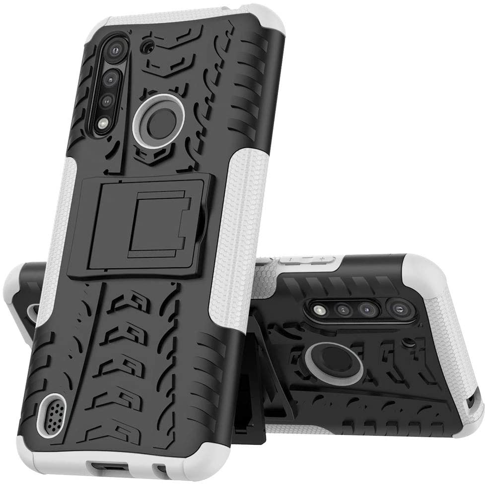 ISADENSER Case for Moto G8 Power Lite,Moto G8 Power Lite Cover Heavy Duty with Kickstand Dual Layer Drop Protection Shockproof Hard Phone Case for Motorola Moto G8 Power Lite. Hyun White