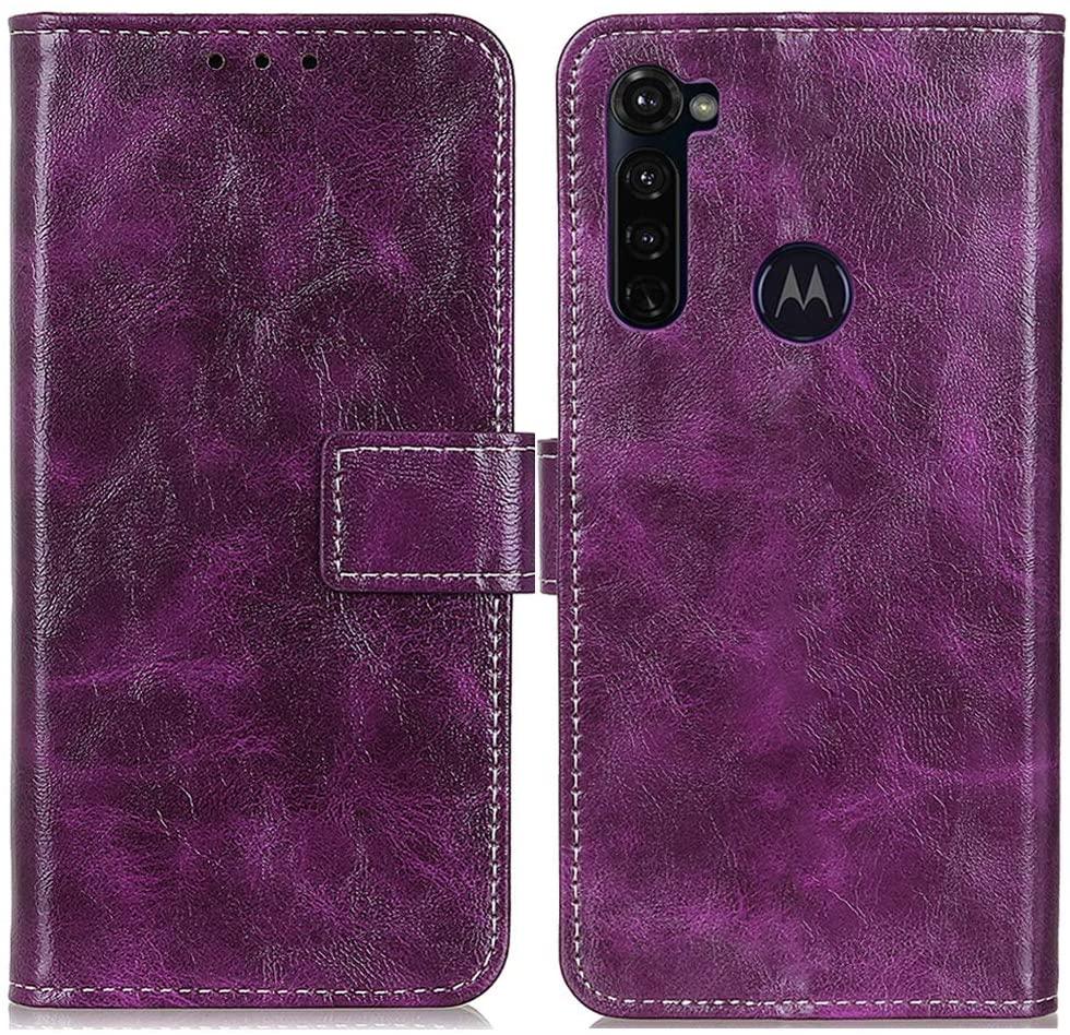 MELOP Moto G Stylus Case, Moto G Pro Case, Retro PU Leather Wallet Magnet Flip Case Cover Kickstand Design with Credit ID Cards Slots Cash Pocket 6.4inch Motorola Moto G Stylus 2020 - Purple
