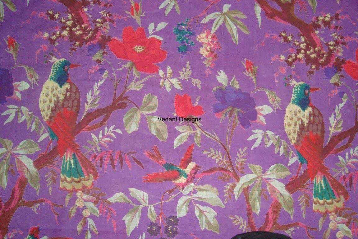 5 Yard Indian Hand Screen Print Cotton Fabric for Craft Sewing Apparel Dressmaking Quilted Handmade by The Yard (5 Yard) (Purple)
