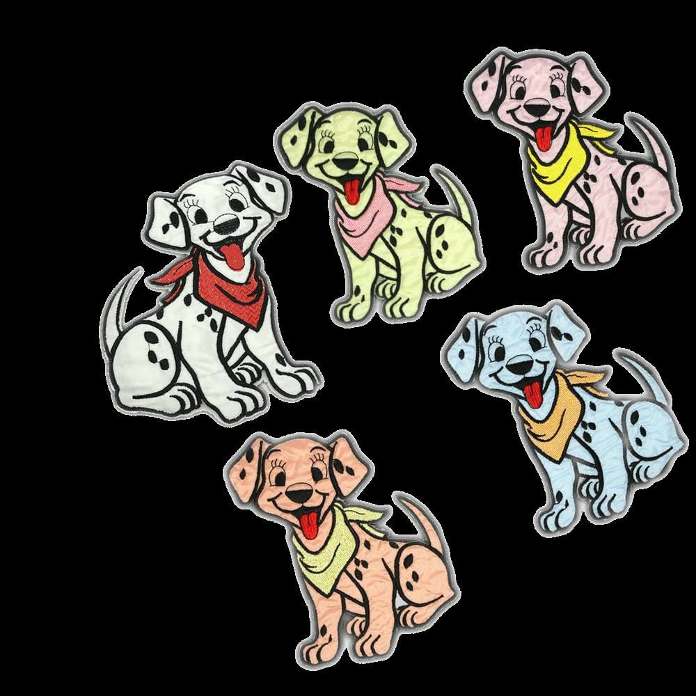 5 pcs Cute Dog Iron on Patches Embroidered Applique Motif
