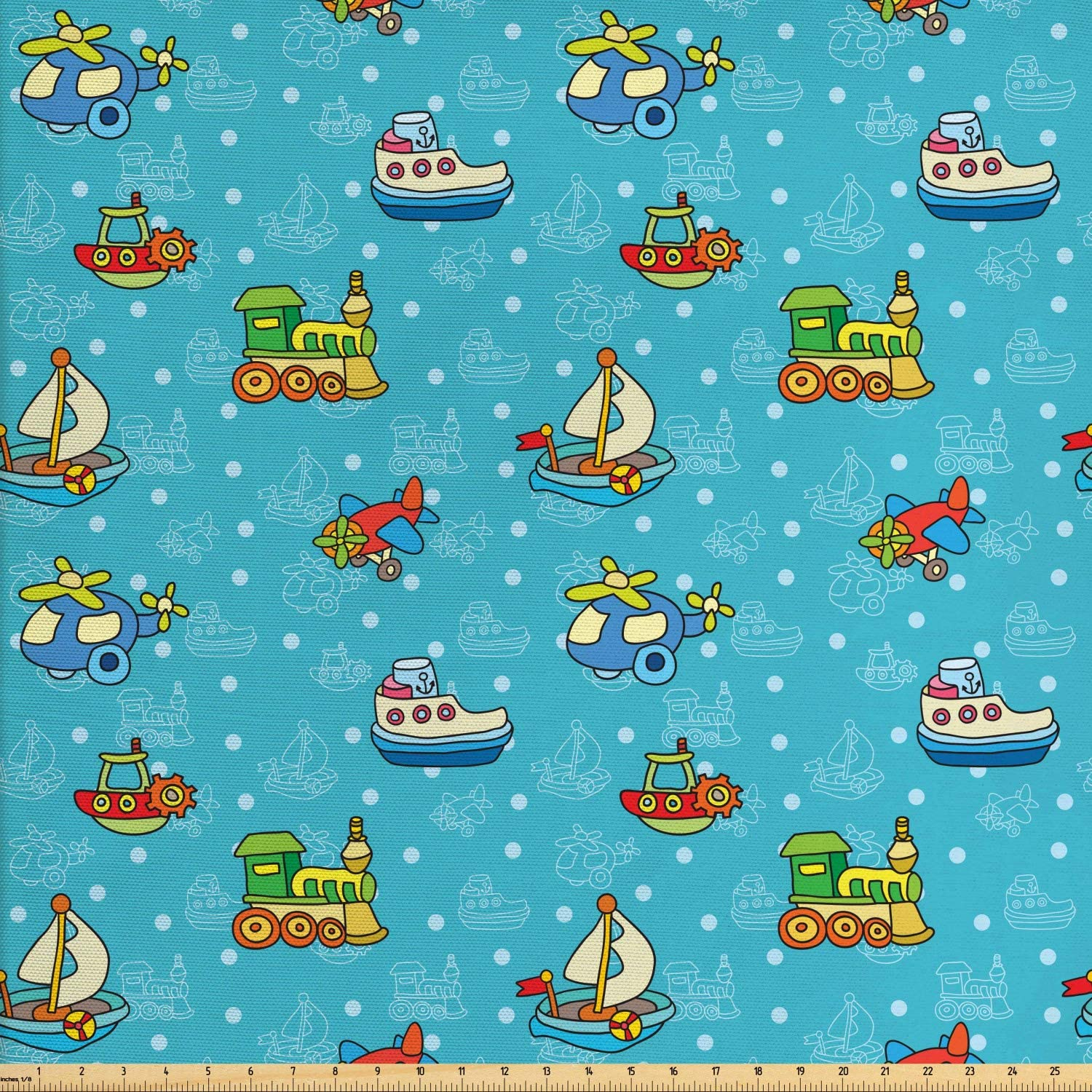 Ambesonne Plane Fabric by The Yard, Colorful Cartoon Children Toy Pattern Boats Planes Trains on Blue Background, Decorative Fabric for Upholstery and Home Accents, 1 Yard, Sea Blue