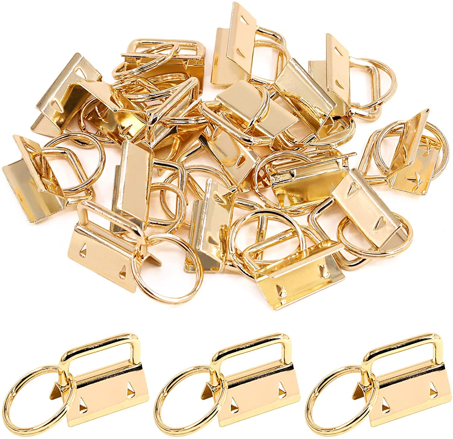 Swpeet 20Pcs Gold 1 Inch Key Fob Hardware with Key Rings Sets, Perfect for Bag Wristlets with Fabric/Ribbon/Webbing/Embossed and Other Hand Craft - 25mm