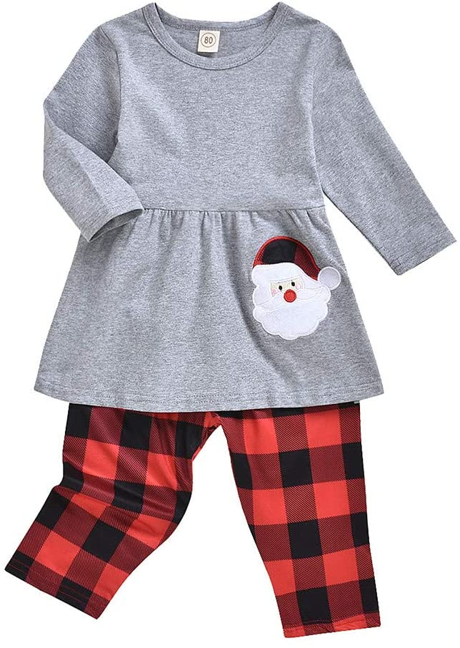 Printasaurus Outfits for Baby and Kids, Toddler Baby Girls Christmas Long Sleeve Cartoon Santa Dress+Plaid Pants Outfits, Girls Outfits&Set