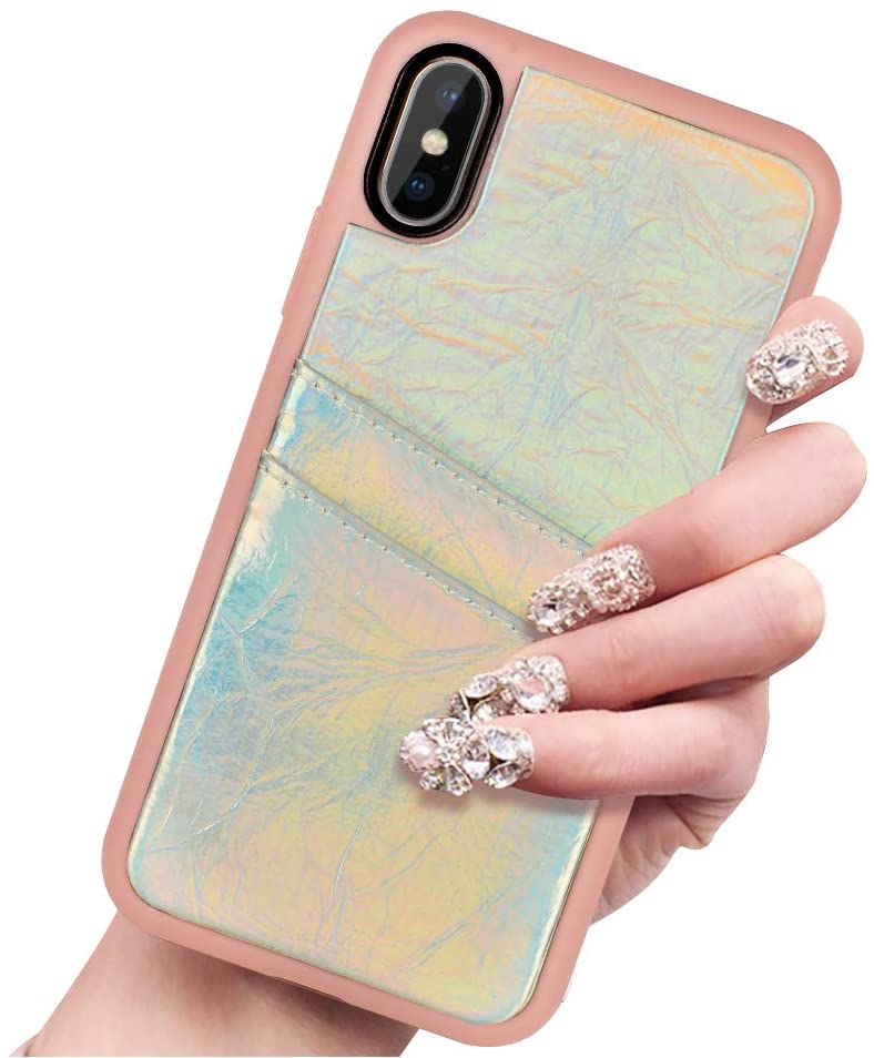 ZVE iPhone X and Xs Wallet Case iPhone Xs X Case with Credit Card Holder Slot Slim Leather Pocket Protective Case Cover for Apple iPhone X and Xs, 5.8 inch - Rose Gold