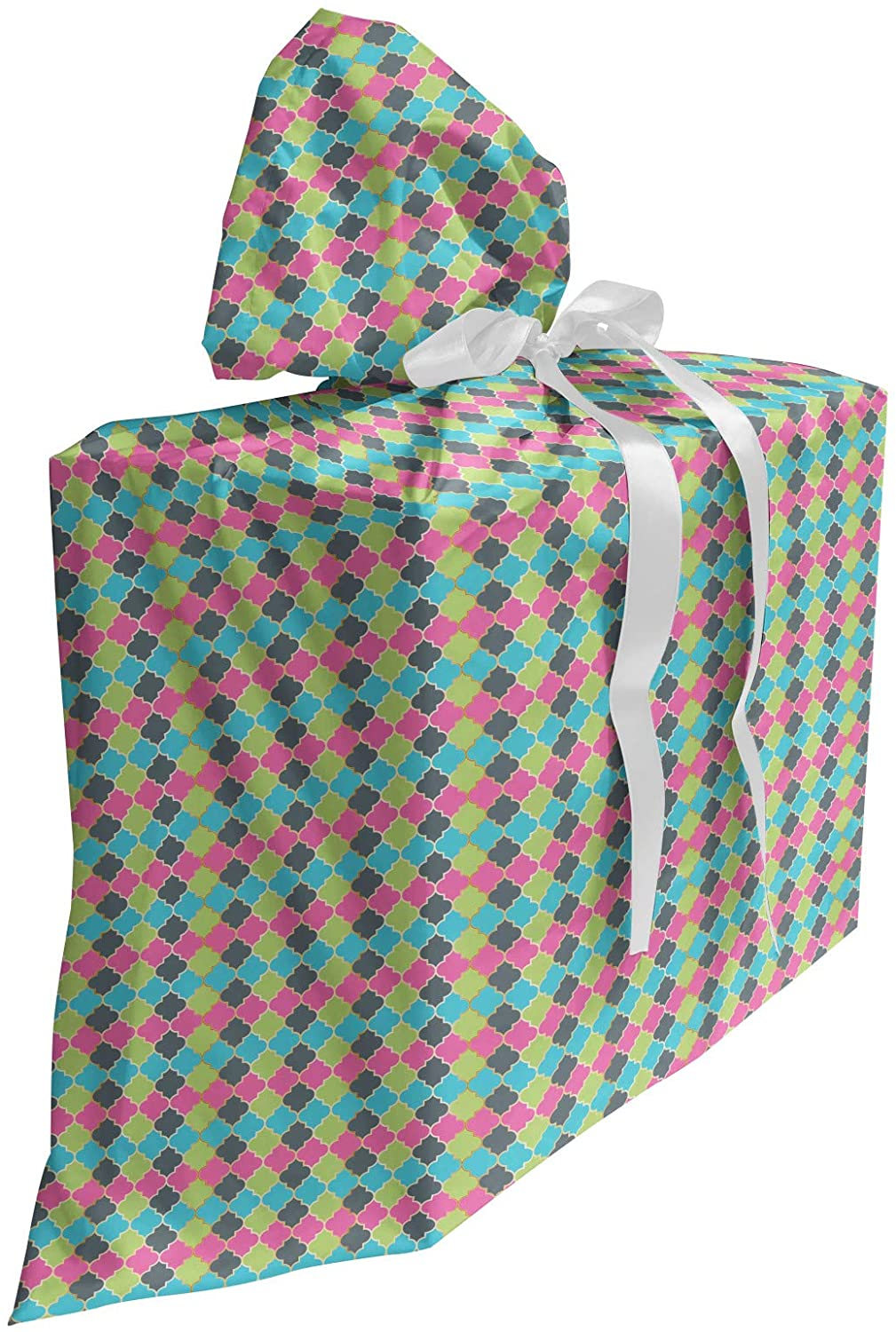 Ambesonne Quatrefoil Fabric Gift Bag, Colorful Oriental Moroccan Pattern Repetitive Energetic Pattern Print, Present Sack for Baby Showers Birthdays with 3 Ribbons, 27
